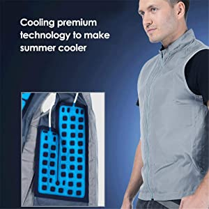 Summer Cooling Vest, Wearer Stays Cool Ice Vest, Breathable Comfort with Ice Packs, Zipper Closure Cooling Shirt for Outdoor Sports and Works
