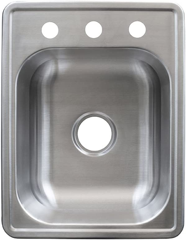 Kindred FSB1722BX 8 Deep Stainless Steel Single Bowl Top-mount Bar Sink, 20 g