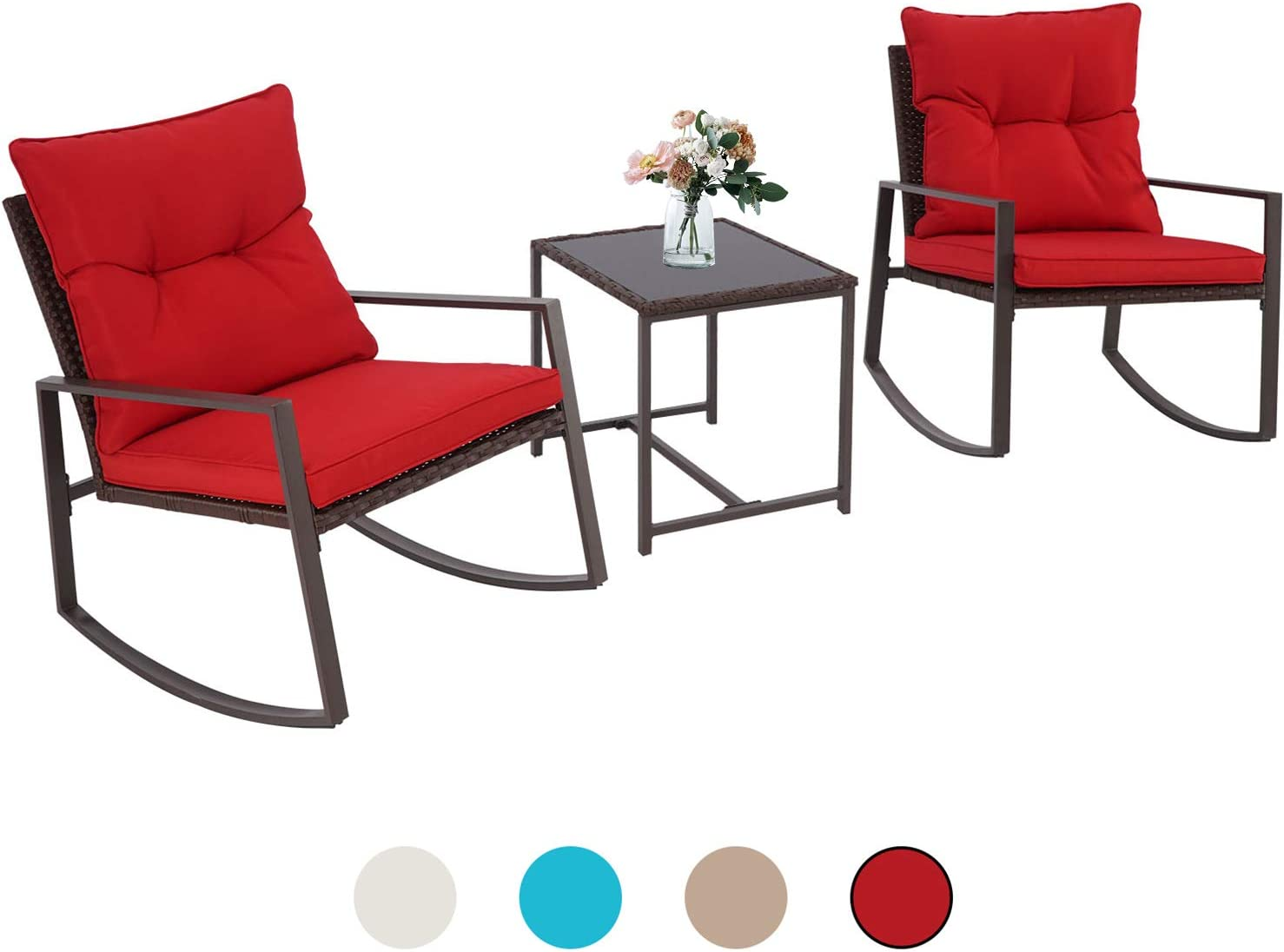 Incbruce Outdoor Indoor 3Pcs Patio Furniture Rocking Chair Set Red All-Weather Brown Wicker Bistro Sets with Cushions and Tempered Glass Coffee Table