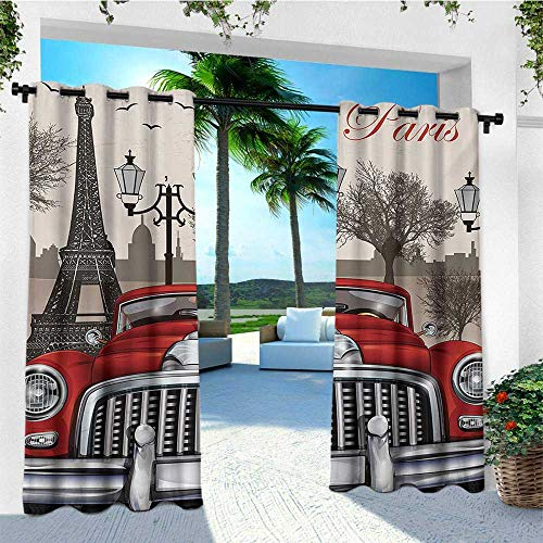 leinuoyi Retro, Outdoor Curtain Waterproof, European Parisian City Scenery with Old Auto Mousque and Eiffel Silhouette Art, Set for Patio Waterproof W72 x L108 Inch Red Cream Grey ()
