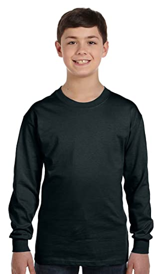 f43b206a Image Unavailable. Image not available for. Color: Boys Hanes Youth TAGLESS  Long-Sleeve T-Shirt ...