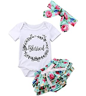 a94a8eb9a2e Infant Baby Girls Floral Outfit Set Blessed Print Romper Floral Ruffle  Shorts Clothes with Headband