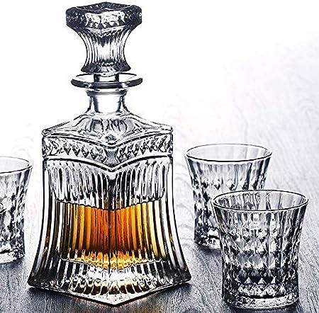 ZCY Juego de decantador de Whisky, Juego de decantador de 5 Piezas Que Incluye 4 Copas de cóctel Preciosas, Excelentes Regalos para los Amantes del Vino, Vino de Whisky b