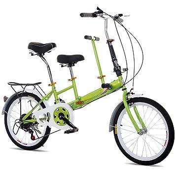 KAHE2016 Portátil Plegable Rueda Tándem Bicicleta Bicicleta Acero de Carbono Alta Capacidad 3 plazas Familia