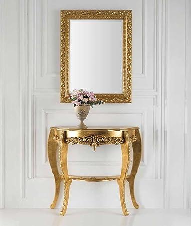 Consolle Classiche Dorate.Consolle Specchiera Stile Barocco A Foglia Oro O Panna Oro