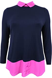 86fd60f943d Emily New Simply Be Ladies 2 in1 Pink Black Premium Jersey Plus Size Shirt  Top
