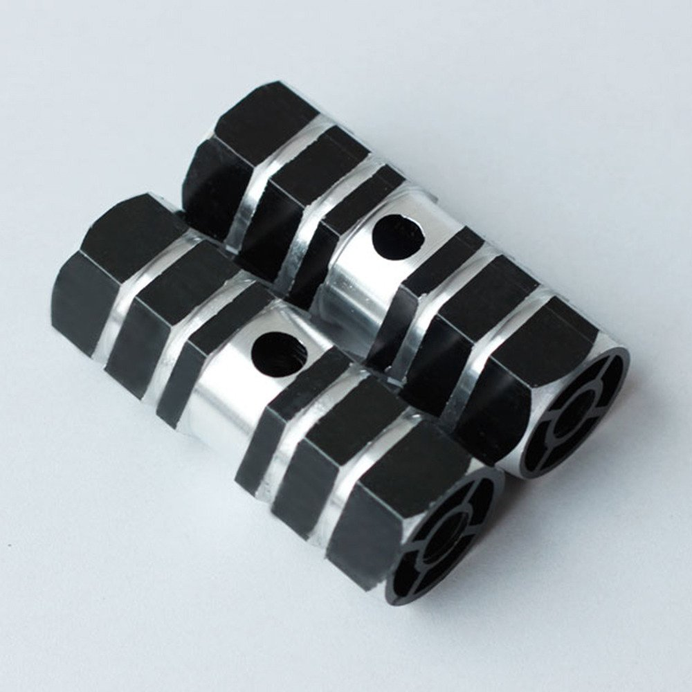 2.72in Long, 0.35in Diameter Hole, 1.14in Wide 2x Hexagonal Cross-Section Black Metal Alloy Kid-Sized Foot Pegs Fits Many Regular BMX Trick Mountain Bicycles