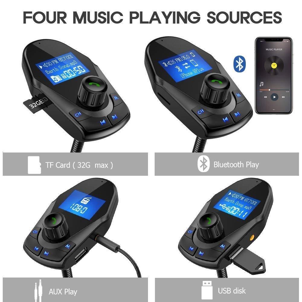 FM Transmitter NULAXY Transmitter Auto Bluetooth mit 1,44 Bildschirm unterst/ützt MP3 Player Radio Adapter Handsfrei Sprechen mit Power on//Off 5V 2.1A USB Anschluss
