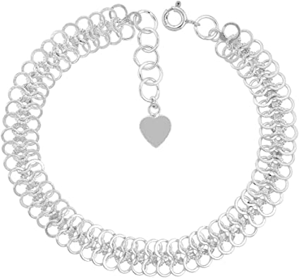 925 Sterling Silver Knotted Mesh Linked Bangle Bracelet Womens Jewellery UK