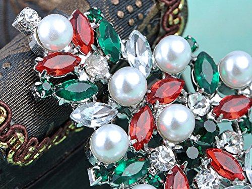 Alilang Silver Tone Faux Pearl Red Green Crystal Rhinestone Árbol de Navidad de vacaciones de invierno Broche Pin