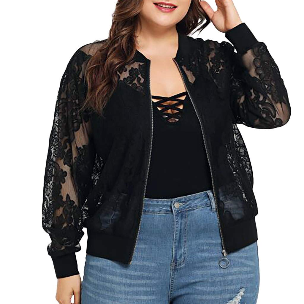 Womens Plus Size Jacket,Solid Casual Lace Loose Long Sleeve Coat,XL-5XL Fashion Style for Ladies Black by Drindf