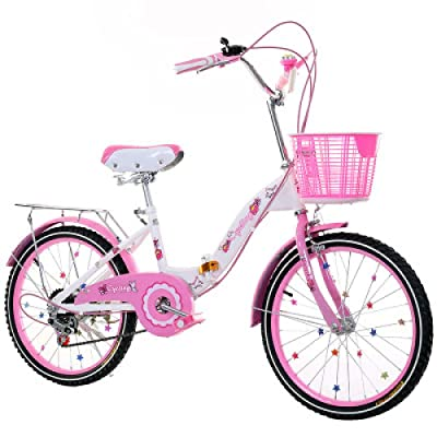 LINGS Foldable Bicycle Kids' Bikes 22-inch Gear Shift Children's Bike 6-14 Years Old Student Bike Female Folding Bicycle: Home & Kitchen