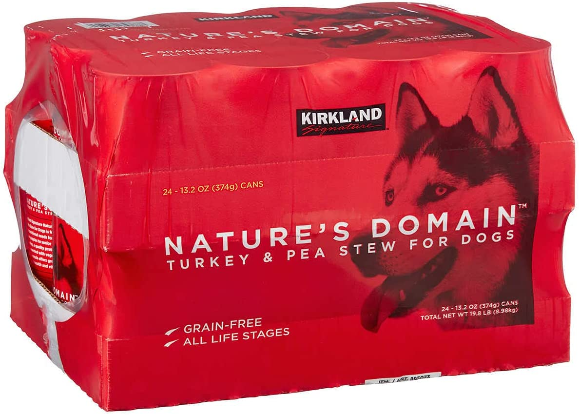 Un branded Kirkland Signature Nature's Domain Canned Dog Food, Turkey & Pea Stew, 13.2 oz, 24-Count