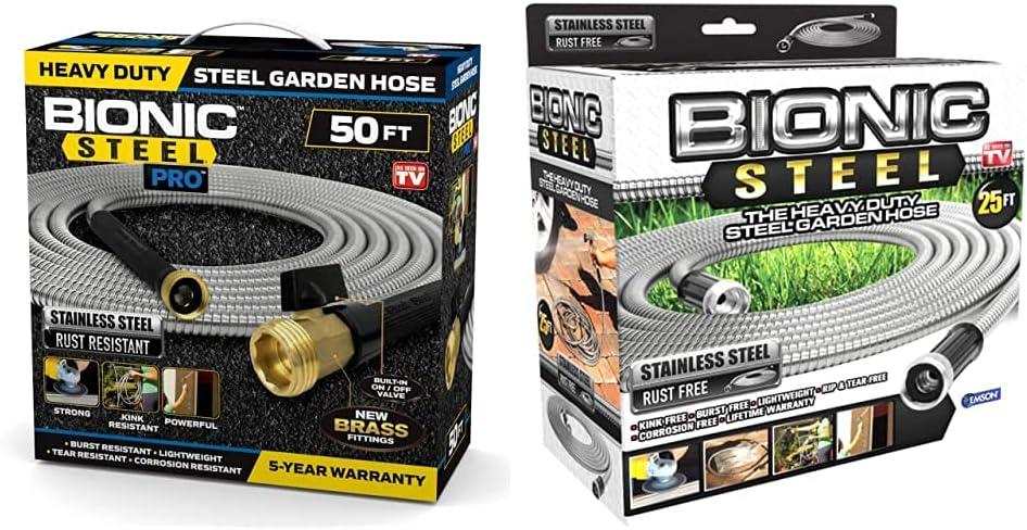 Bionic Steel 2428 PRO Hose-304 Stainless Steel Metal 50 Foot Garden Hose – Heavy Duty Lightweight, 50' & 25 Foot Garden Hose 304 Stainless Steel Metal Hose