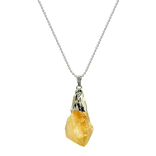 Amazon hand picked rock citrine crystal pendant necklace 18 hand picked rock citrine crystal pendant necklace 18quot silver tone aloadofball Image collections