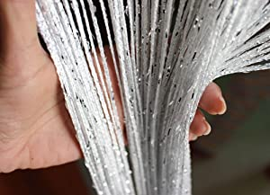 Eyotool 1x2 M Door String Curtain Rare Flat Silver Ribbon Thread Fringe Window Panel Room Divider Cute Strip Tassel for Wedding Coffee House Restaurant Parts, White