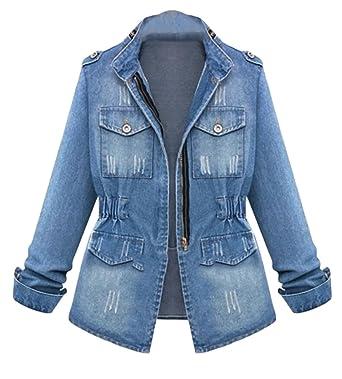 667f592b1c7 ouxiuli Women s Slim Fit Washed Distressed Zipper Denim Jacket Jean Coat  Blue XS