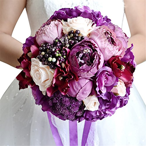 Amethyst Bouquet - Zebratown 9'' Artificial Roses Bunch Flower Purple Amethyst Rose Wedding Bouquet Party Home Decor (Purple charm)