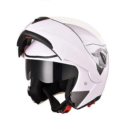 518825f1 Amazon.com: AHR Full Face Flip up Modular Motorcycle Helmet DOT Approved Dual  Visor Motocross White L: Automotive