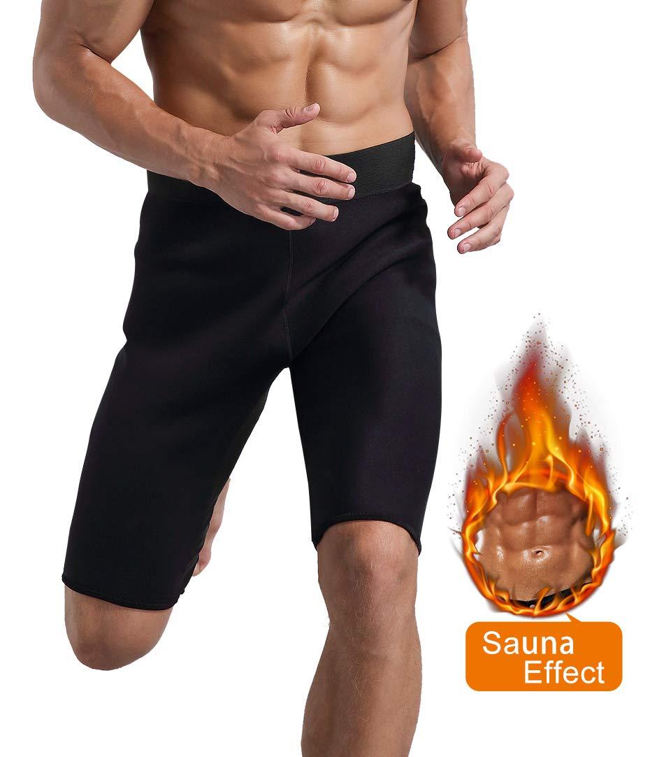 5e29c473912c2 Amazon.com   Novasoo Men Neoprene Slimming Pants for Weight Loss Hot Thermo  Sauna Sweat Capri Fitness Workout Body Shaper Shorts   Sports   Outdoors