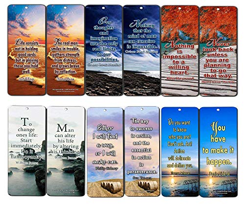 Creanoso Motivational Bookmarks (60-Pack) - Best Inspirational and Motivational Sayings Bookmarkers - Great Stocking Stuffer Gifts for Inspiring Book Lovers, Bookworms, Bibliophiles