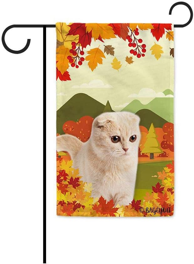 BAGEYOU Hello Fall in The Countryside with My Love Cat Cute Scottish Fold Decorative Garden Flag Autumn Maple Leaf Banner for Outside 12.5X18 Inch Printed Double Sided