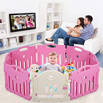 Baby Playpen Pink + Purple Dripex Foldable Kids Activity Centre Safety Play Yard Home Indoor Outdoor Baby Fence Play Pen with Gate for Baby Boys Girls Toddlers