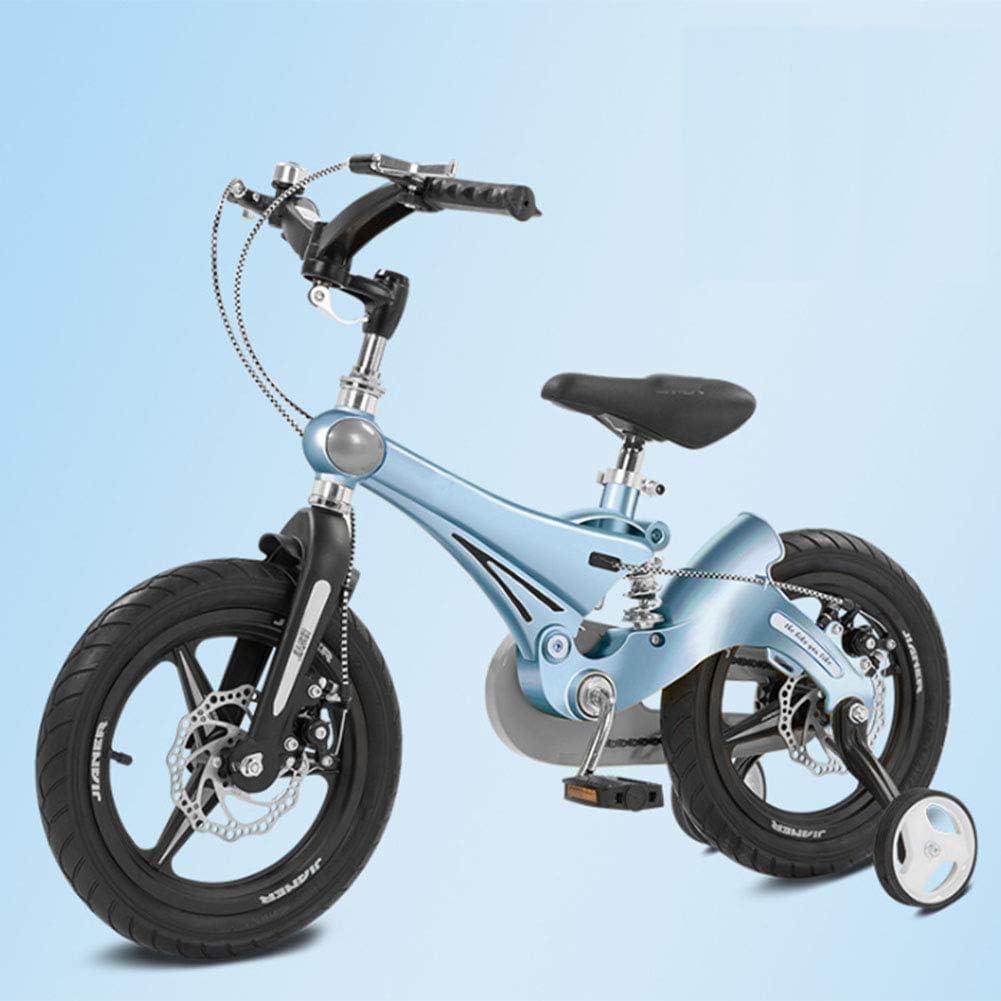 MQYZS Bicicleta Infantil para niños y niñas a Partir de 3 años   Bici 12-14-16 Pulgadas,con Frenos on sillín y manubrio Regulable,Azul,16 Inches