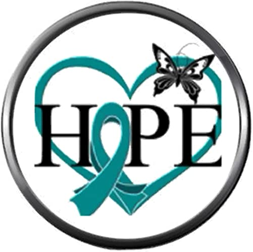 Amazon Com Butterfly Heart Hope Ovarian Cancer Teal Ribbon Support Awareness Believe Find Cure 18mm 20mm Snap Jewelry Charm Jewelry