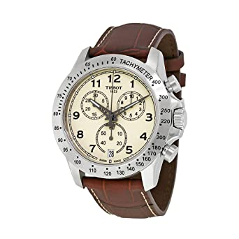 Amazon Com Tissot V8 T106 417 16 262 00 Ivory Brown Leather