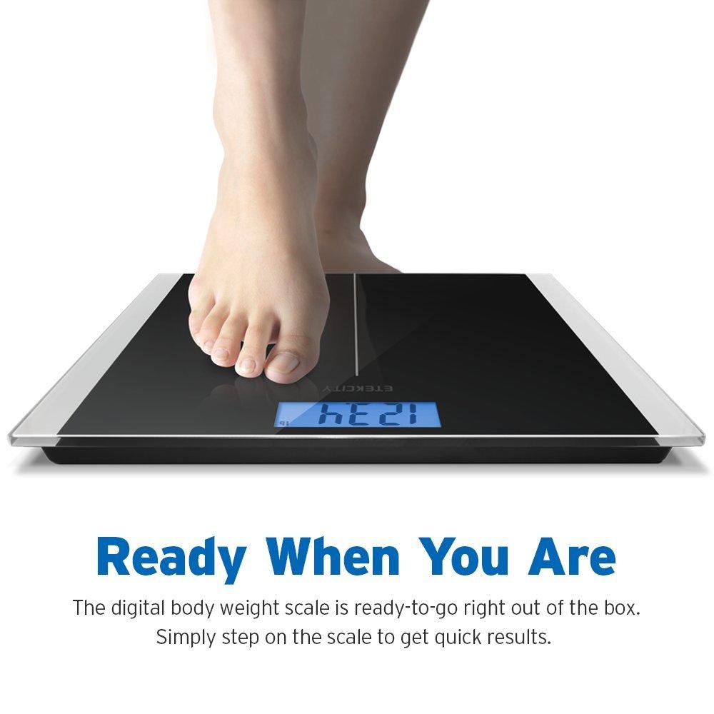 Digital bathroom scale digital body scale body weight scale digital - Amazon Com Etekcity Digital Body Weight Bathroom Scale With Step On Technology 400 Pounds Body Tape Measure Included Elegant Black Health Personal