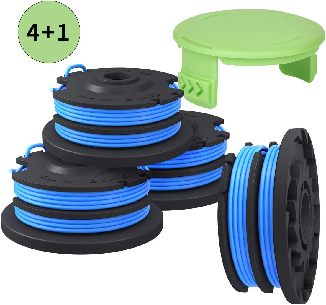 Generep Weed Eater String Trimmer Replacement Spool for Greenworks .29242/29082 27ft 065-Inch Dual Line,Compatible with Greenworks Models 21212 and 21272 (4 Spools, 1 Cap)