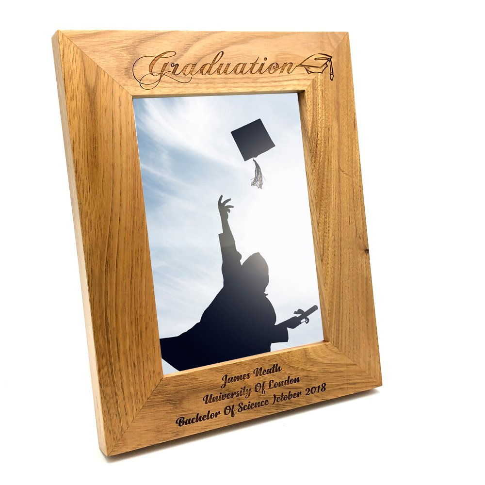 ukgiftstoreonline Personalised Graduation Wooden Photo Frame Gift (4 x 6 Inch)