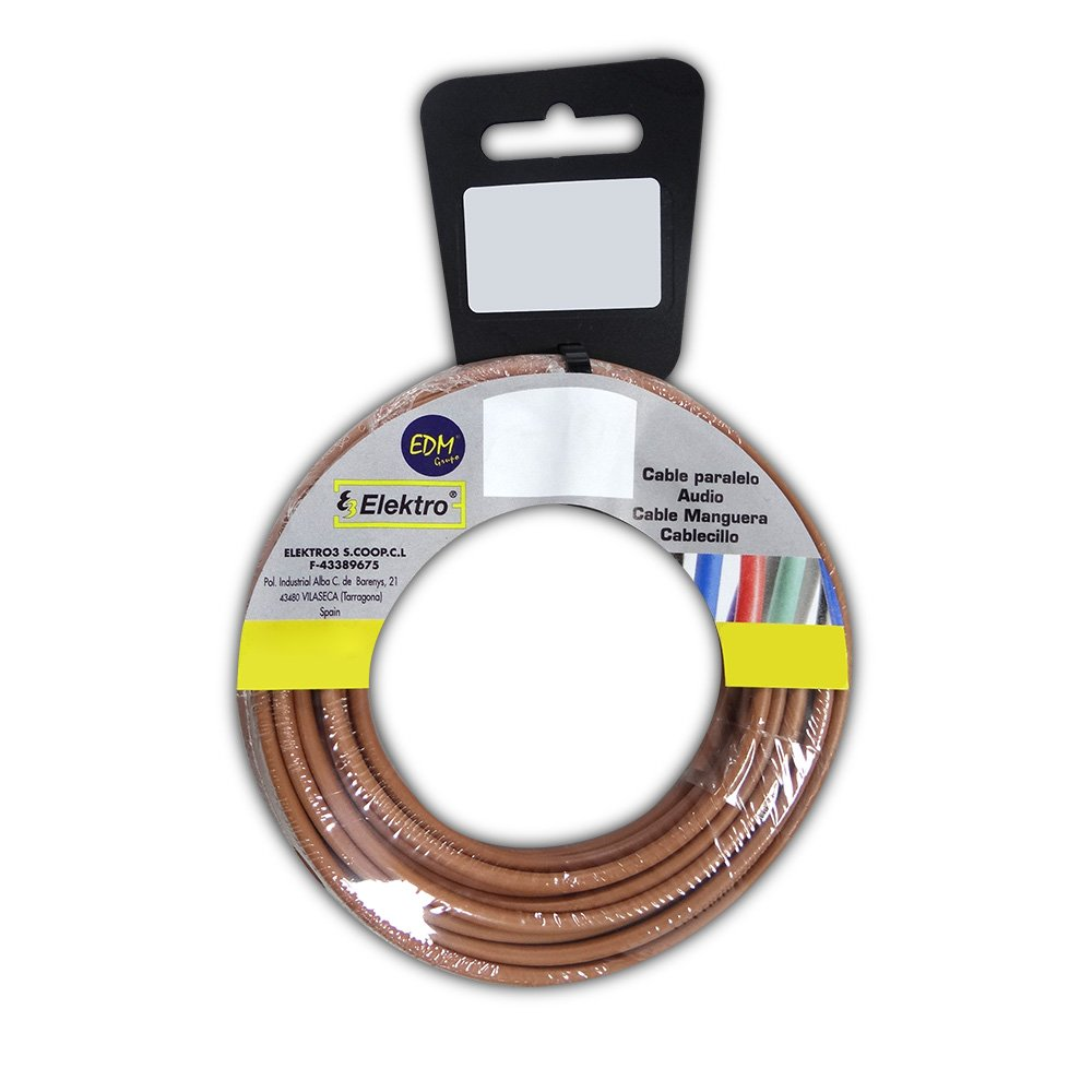 CARRETE CABLECILLO FLEXIBLE 1, 5MM MARRON 25M LIBRE-HALOGENO EDM