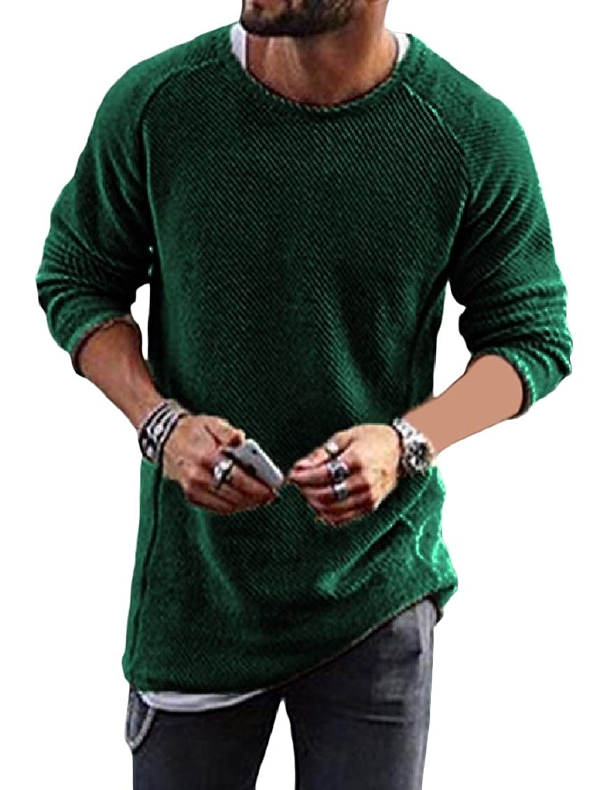 Hajotrawa Mens Fashion Pullover Knitted Crew Neck Long Sleeve Jumper Sweaters