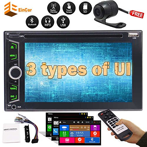 Car Stereo Double din DVD/CD Player Multi-Touch Capacitive Screen Car Stereo Autoradio Bluetooth Monitor Headunit Support Steering Wheel Control FM/AM RDS Radio USB Subwoofer AUX 1080P Video+Free (Screen Touch Multi Capacitive)