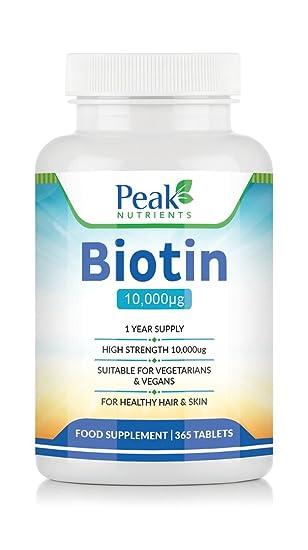 Suplemento de Biotina de Alta Concentración (10,000 mcg) para el Crecimiento del Cabello,