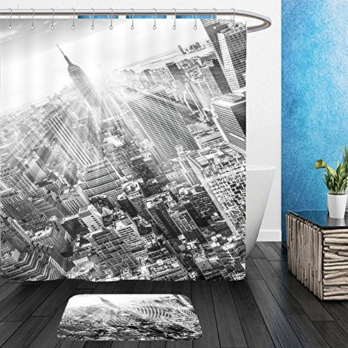 Vanfan Bathroom 2 Suits 1 Shower Curtains & 1 Floor Mats new york city manhattan downtown skyline with illuminated empire state building and skyscrapers at 301301882 From Bath room