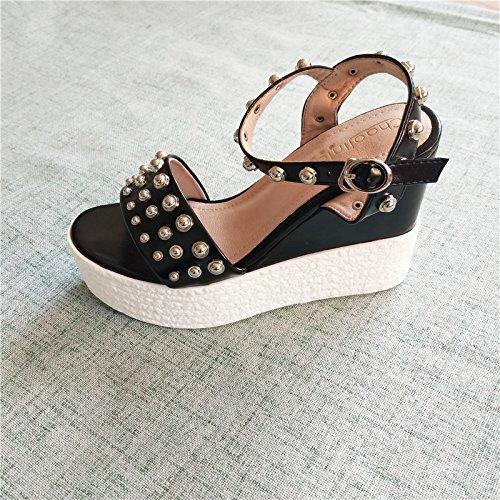 muffin bocca solo le di trentotto pesce superficiale scarpe una black inferiore primavera bocca summer donna scarpe cintura spesso sandali GTVERNH rivet dFaPd