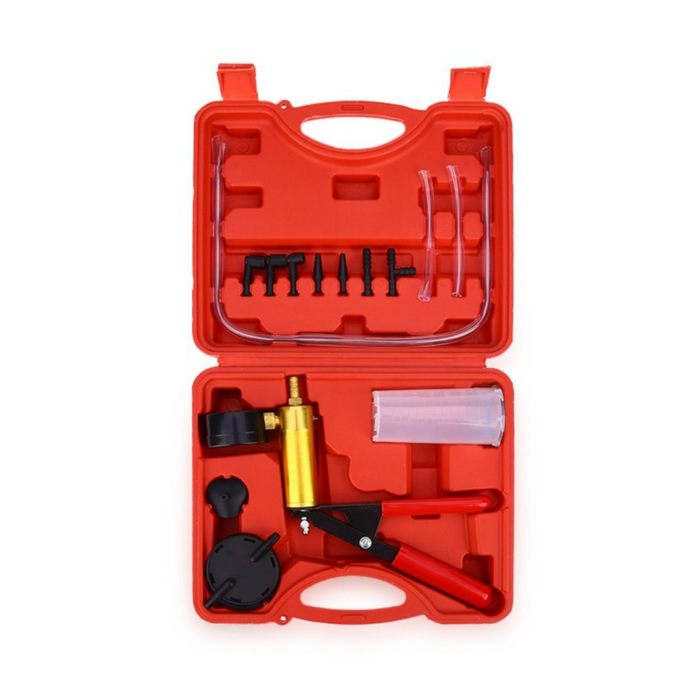 Zhengpin Brake Bleeder And Vacuum Pump Tester Tool Kit Brake Fluid Bleeder Oil Change Hand Held Vacuum Pistol Pump Tester Kit