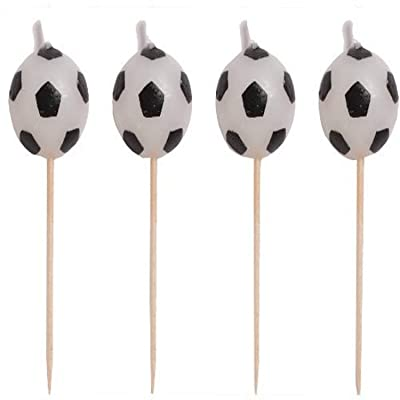 Creative Converting 4 Count Sports Fanatic Soccer Shaped Pick Candles - 100764: Birthday Candles: Kitchen & Dining