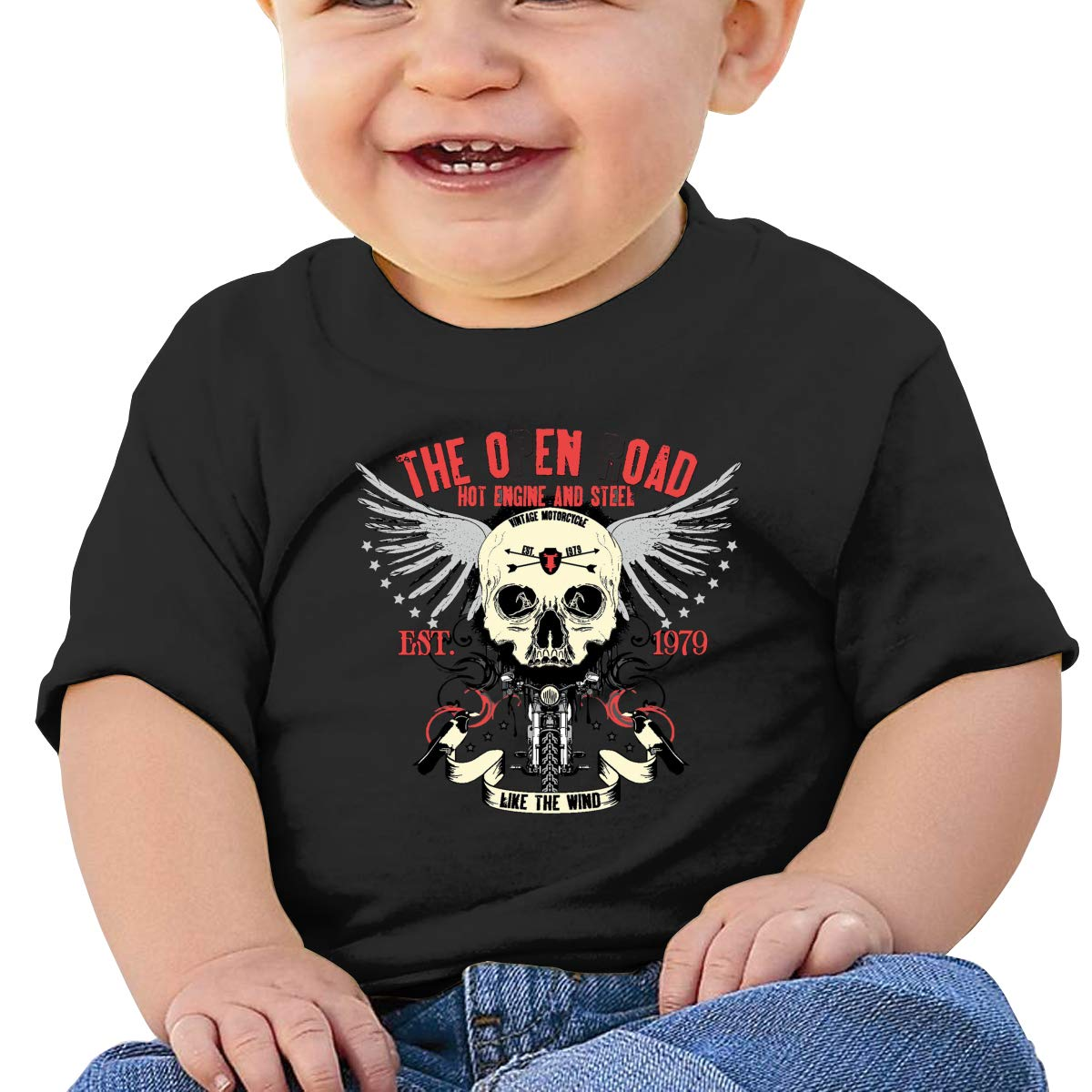 Hazhisha The Open Road Baby T-Shirt with Round Collar and Pure Cottonblack