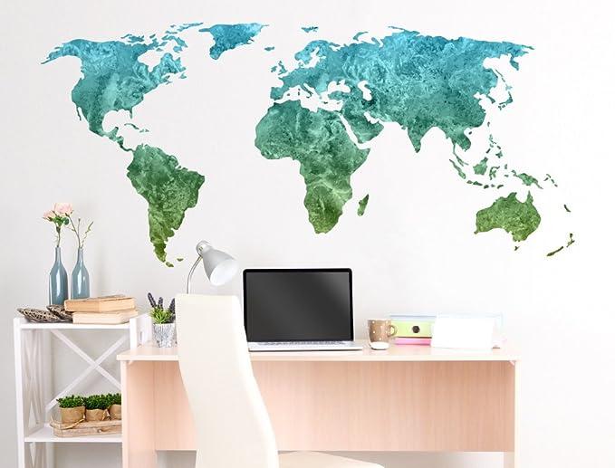 Pegatina de pared Salón Mapa del mundo Acuarela en verde ...