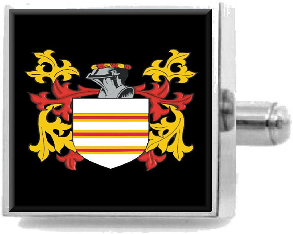 Select Gifts Lilley England Family Crest Surname Coat Of Arms Cufflinks Personalised Case