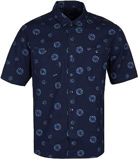 Edwin Indigo Poplin Abstract Flower Short Sleeve Shirt