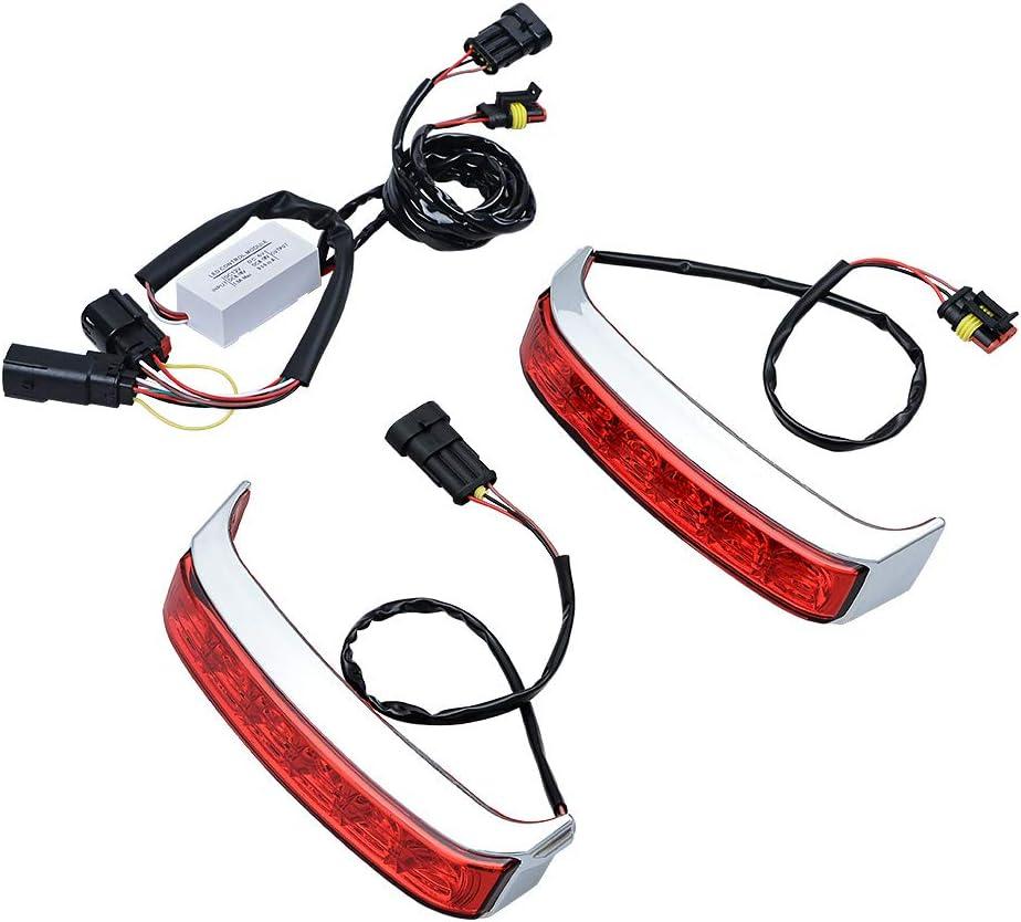 Chrome Housing//Red Lens LED Saddlebag Tail Run Brake Turn Signal Light Lamp Compatible with Harley Touring FLHTCU FLHTCUL FLHTK FLHTKL FLTRU 14-18 FLHTKSE FLTRUSE 16-18