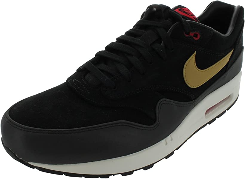 newest 03e4c 35790 NIKE Air Max 1 PRM Mens Black Suede Sneakers Shoes Size 10 UK UK 10   Amazon.co.uk  Shoes   Bags