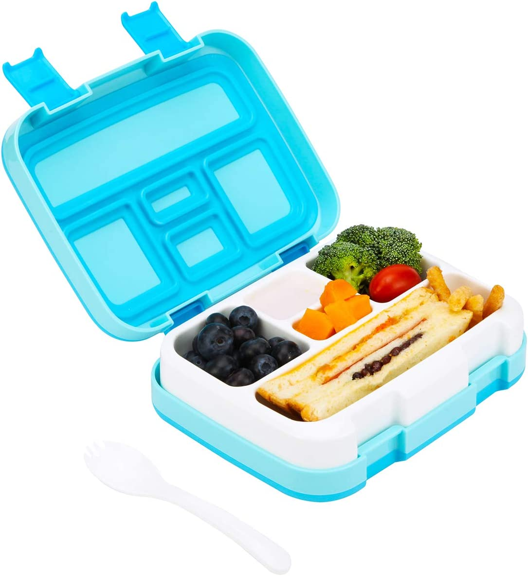 G.a HOMEFAVOR Bento Box for Adults & Kids, 5 Compartment Bento Lunch Box with Sturdy Shell, 800ml Meal and Snack Containers for Kids, BPA Free, Microwave and Dishwasher Safe (Blue)