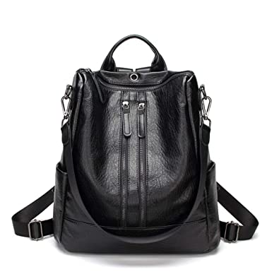 357bd4bde9d3 Amazon.com  Women Leather Backpack Casual Medium Lightweight Purse Bag with  Earphone Hole Girls School Back Pack - Brown  Shoes