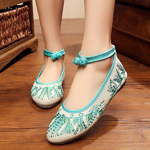 &hua Zapatos bordados, lenguado de tendón, estilo étnico, hembrashoes, moda, cómodo, zapatos de baile Green